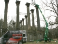 With the columns exceeding 44 feet, EMS used a lift to 3D scan the intricacy of column capitals.